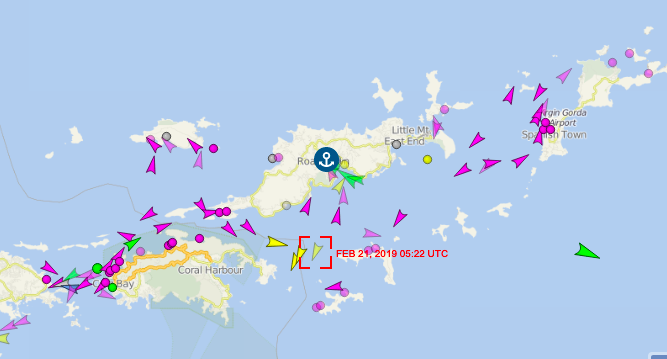 Marine traffic screenshot of location of 'Maritime Stone' on 21 February 2019 in the BVI