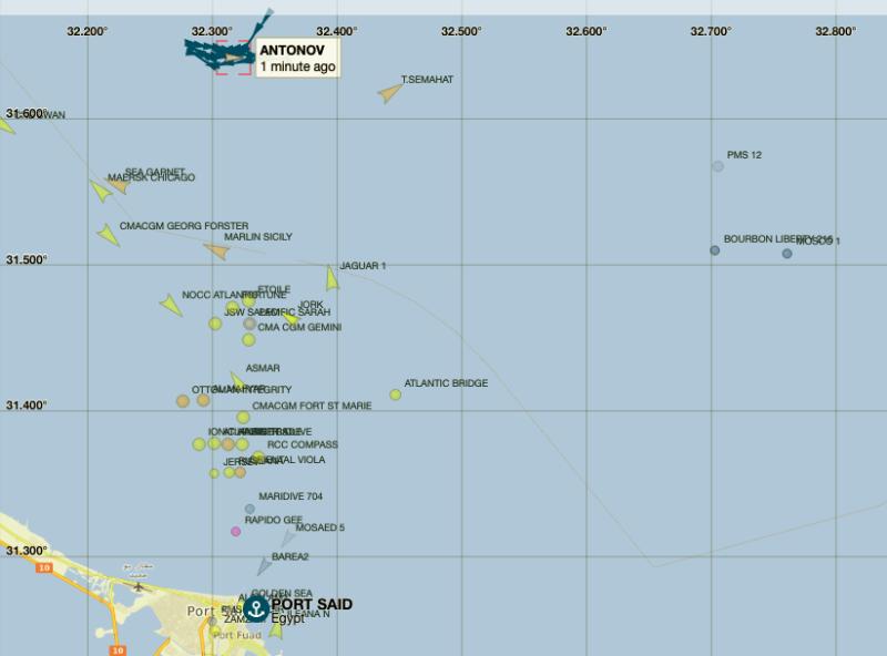 AIS screenshot: Source: vessel finder.com