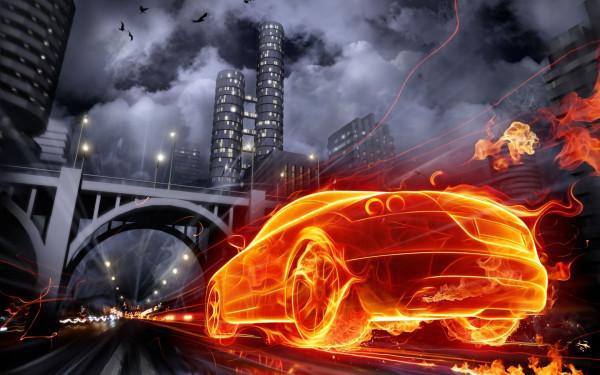 Огненный автомобиль