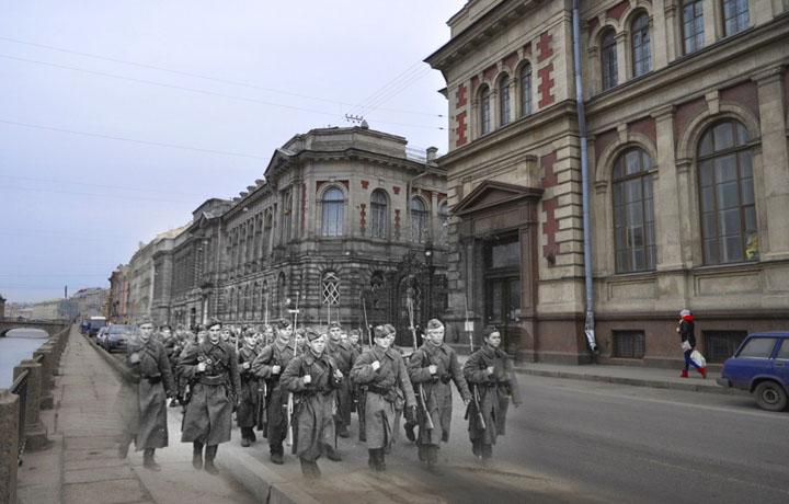1941-2013 На фронт. (Ленинград - Санкт-Петербург. Фонтанка, 76).jpg