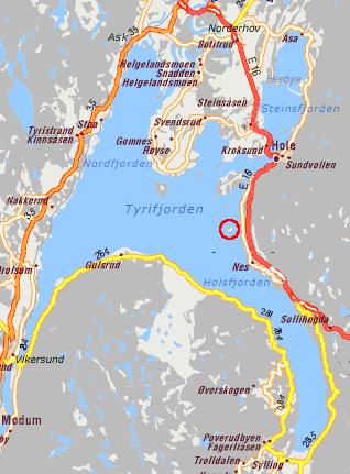 Utøya (markert med rød sirkel) befinner seg i Tyrifjorden i Buskerud..png