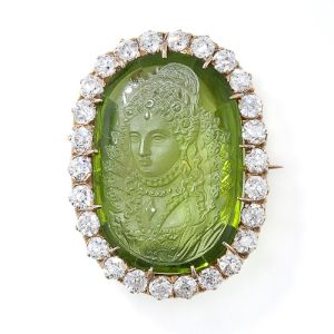 Antique-Carved-Peridot-Cameo-and-Diamond-Brooch-Pendant-Photo-courtesy-of-Lang-Antiques