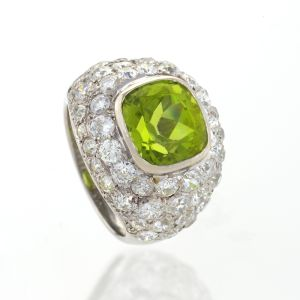 Art-Deco-Platinum-Peridot-and-Diamond-Ring-by-Rene-Boivin-Macklowe-Gallery