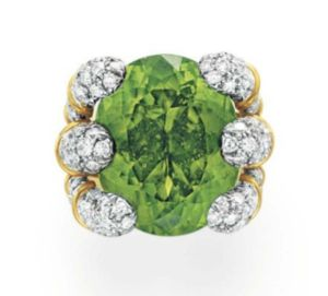Lot-28-A-PERIDOT-AND-DIAMOND-RING-BY-VERDURA-