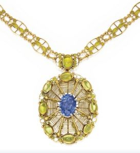 Lot-148-GOLD-SAPPHIRE-PERIDOT-AND-ENAMEL-PENDANT-NECKLACE-LOUIS-COMFORT-TIFFANY-