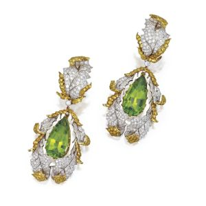 PAIR-OF-18-KARAT-TWO-COLOR-GOLD-PERIDOT-AND-DIAMOND-PENDANT-EARCLIPS-BUCCELLATI-ITALY-Photo-courtesy-of-Sothebys