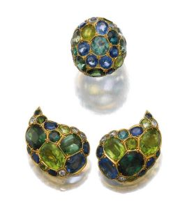 PAIR-OF-GEM-SET-AND-DIAMOND-EAR-CLIPS-AND-A-RING-SUZANNE-BELPERRON-1960