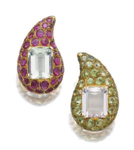 PAIR-OF-GEM-SET-EAR-CLIPS-SUZANNE-BELPERRON-CIRCA-1960