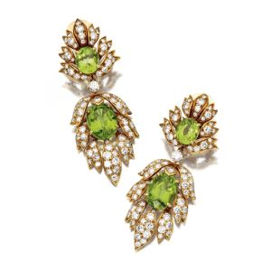 PAIR-OF-PERIDOT-AND-DIAMOND-PENDANT-EARCLIPS-VAN-CLEEF-ARPELS-NEW-YORK-Photo-courtesy-of-Sothebys