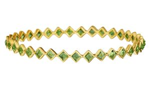 Paolo-Costagli-Bezel-set-Peridot-Bangle-Bracelet