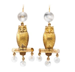 A-Pair-of-Owl-and-Moonstone-Ear-Pendants