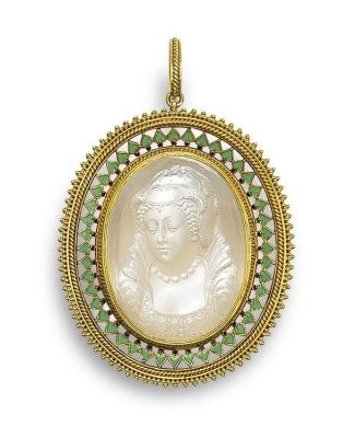 Lot-23-A-gold-enamel-and-moonstone-cameo-pendant-by-Carlo-Giuliano