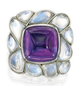 Lot-113-PLATINUM-AMETHYST-AND-MOONSTONE-BROOCH-CARTIER