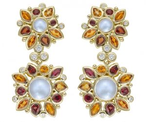 Temple-St.-Clair-18K-Anima-Double-Cluster-Earrings-with-rainbow-moonstone-red-sapphire-orange-sapphire-and-diamond