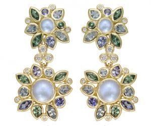 Temple-St.-Clair-18K-Anima-Double-Cluster-Earrings-with-blue-moonstone-aquamarine-tanzanite-tsavoriteand-diamond