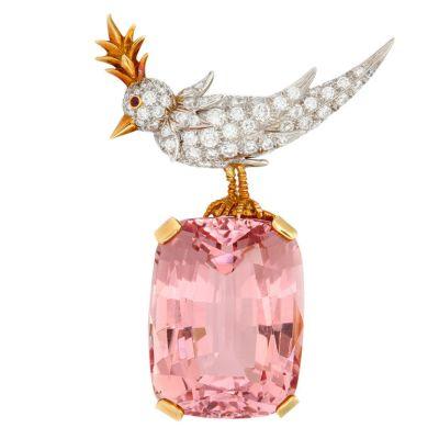 TIFFANY-Kunzite-and-Diamond-Bird-on-the-Rock-Brooch-Samual-Saidian