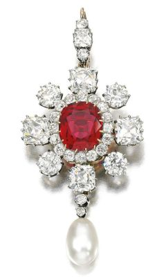 Lot-160-Natural-pearl-spinel-and-diamond-brooch-pendant-Late-19th-Century