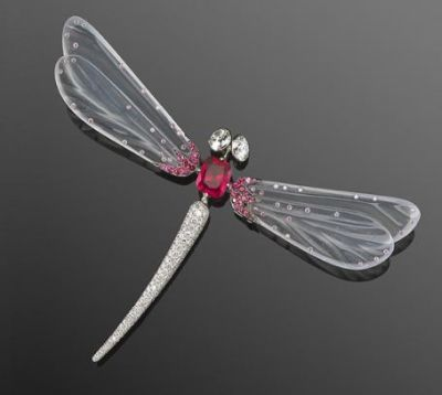 Red-Spinel-White-Jade-and-Diamond-Dragonfly-Brooch