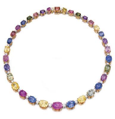 Lot-278-18-Karat-Two-Color-Gold-Multi-Colored-Sapphire-and-Diamond-Necklace-Bulgari