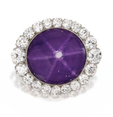 Lot-123-Platinum-Star-Sapphire-and-Diamond-Brooch-J.E.-Caldwell-Circa-1910