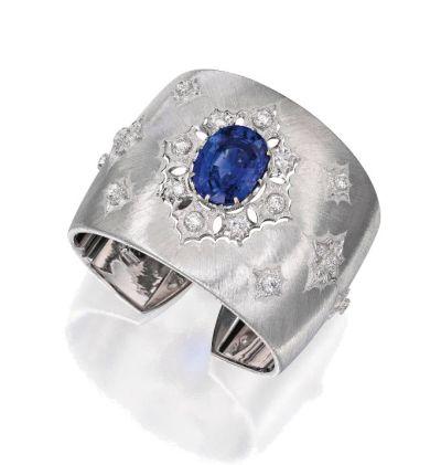 18-Karat-White-Gold-Sapphire-and-Diamond-Cuff-Bracelet-Buccellati