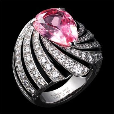 Cartier Ring, Solar Landscape – Ring – platinum, one 10.04-carat padparadscha sapphire, black lacquer, brilliants.