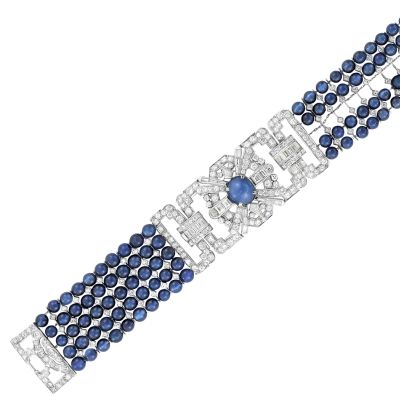 Lot-603-Art-Deco-Five-Strand-Synthetic-Sapphire-Bead-Platinum-Star-Sapphire-and-Diamond-Bracelet2