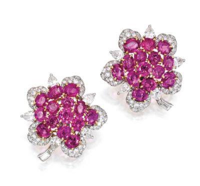 Lot-338-Pair-of-18-Karat-Gold-Pink-Sapphire-and-Diamond-Earclips-Bulgari