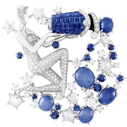 Clip Zodiac Set Aquarius. White gold, diamonds, black laquer, sapphires, red gold, Serti Mystérieux sapphires and rose cut diamonds.