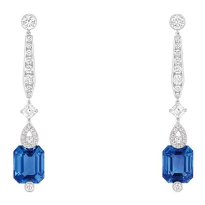 Chaumet Earrings in white gold set with cushion-cut sapphires and diamonds.