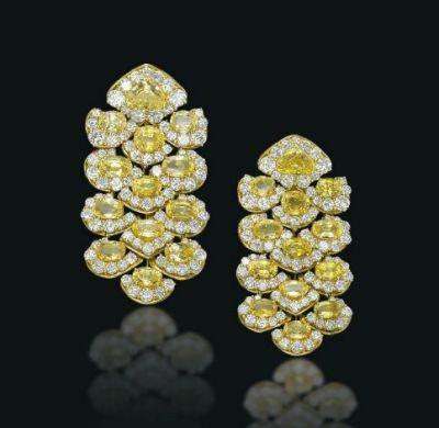 Lot-146-A-Pair-of-Coloured-Sapphire-and-Diamond-Girasol-Ear-Pendants-By-Marina-B.