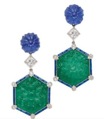 LOT-309-A-Pair-of-Emerald-Sapphire-and-Diamond-Ear-Pendants