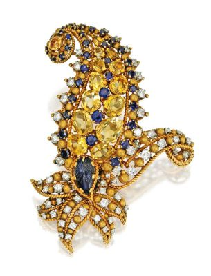 Lot-329-18-Karat-Gold-Sapphire-Yellow-Sapphire-and-Diamond-Paisley-Brooch-Tiffany-Co.-France-Circa-1955