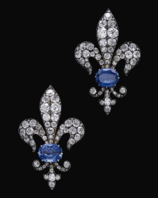 Lot-575-Pair-of-sapphire-and-diamond-brooches-late-19th-century