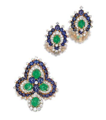 Lot-879-An-18-Karat-Gold-Platinum-Colored-Stone-and-Diamond-Brooch-and-Matching-Earclips-Bulgari-Circa-1960