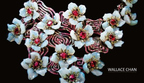 'Dream in Lotus Garden' Necklace by Wallace Chan - Burmese ruby (43.33ct), white chalcedony, pink sapphire, white diamond, titanium