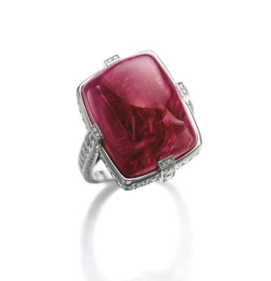 The 'Pigeon Heart Ruby' ring by Cartier, featuring a 31.30-carat Burmese ruby