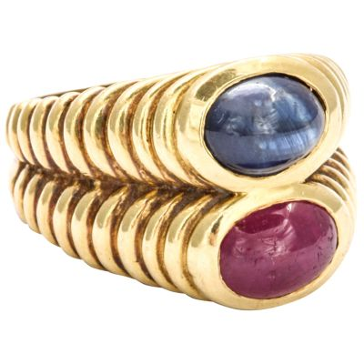 Bulgari Double Band Ring of Ruby and Sapphire circa 1970