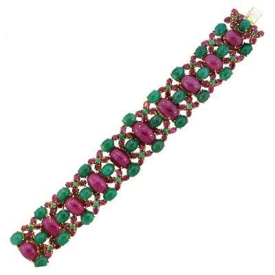 Tony Duquette Ruby Emerald Gold Bracelet