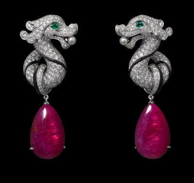 White-gold-two-ruby-drops-totaling-21.47-carats-emerald-eyes-two-natural-pearls-onyx-brilliants.