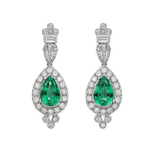 emerald-diamond-pendant-earrings-estate