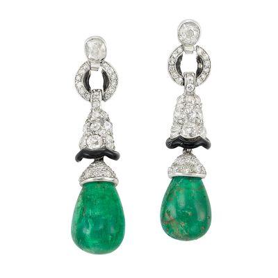 Lot-612-Pair-of-Art-Deco-Platinum-Diamond-Emerald-and-Black-Enamel-Pendant-Earrings