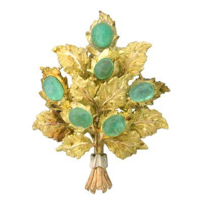 Mario-Buccellati-Gold-Emerald-Brooch-OakGem