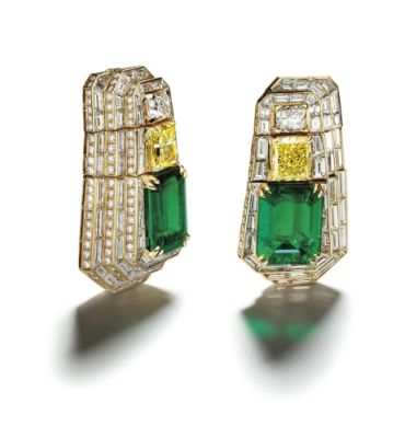 "PAIR-OF-GOLD-DIAMOND-YELLOW-DIAMOND-AND-EMERALD-""MANHATTAN""-EARRINGS-ALEXANDRE-REZA-1108x1200"