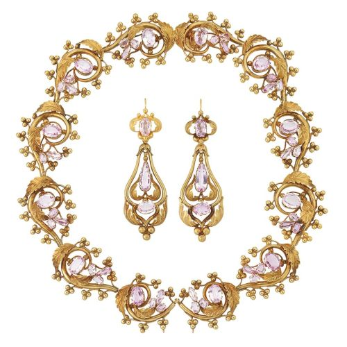 Antique-Gold-and-Pink-Topaz-Necklace-and-Pair-of-Pendant-Earrings