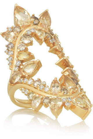 Electric Shock ring in yellow gold, white and brown diamonds and Imperial topaz by Fernando Jorge.