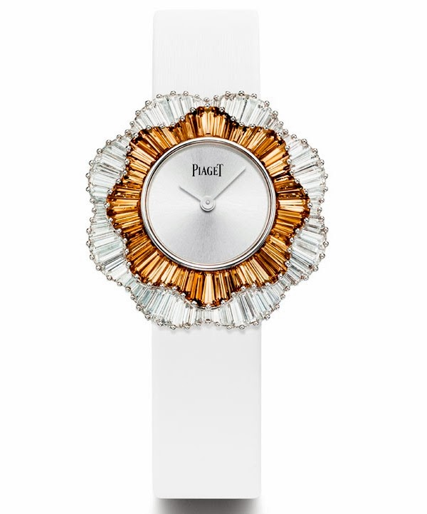 Piaget Rose Passion watch with 18k white gold case set with topaz and diamonds