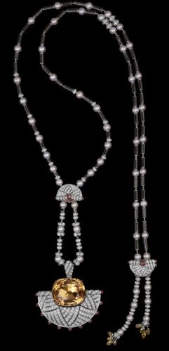 Platinum-one-40.45-carat-cushion-shaped-golden-topaze-cabochon-cut-briolette-cut-and-cushion-shaped-orange-sapphires-cultured-pearls-obsidian-onyx-brilliants