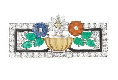 Art-Deco-Platinum-Diamond-Fluted-Citrine-Carved-Stone-and-Black-Enamel-Brooch