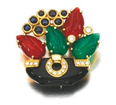 Gem-Set-and-Diamond-Brooch-Cartier